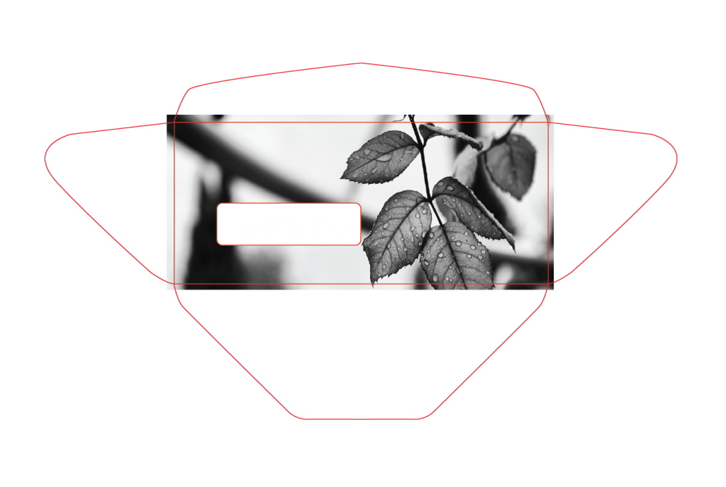 diagram showing how bleed works on a converted envelope
