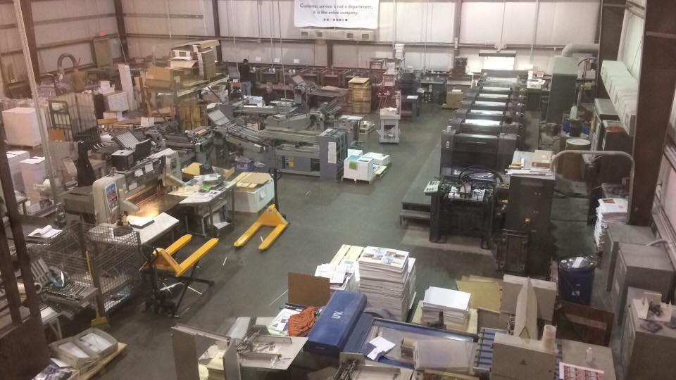 360 shop floor, showing printing, folding, cutting machines