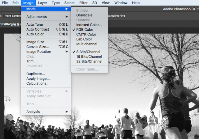 changing photo mode from RGB to grayscale in Photoshop
